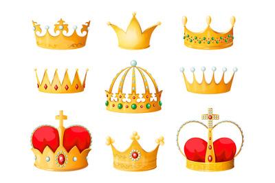 Gold cartoon crown. Golden yellow emperor prince queen crowns diamond