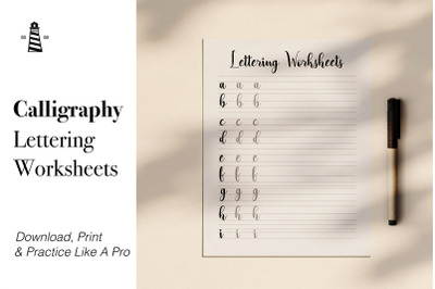 Calligraphy Lettering Practice Sheets