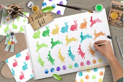 Watercolor Vector Easter Design Kit