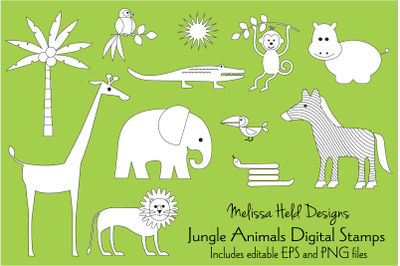Jungle Animals Digital Stamps Clipart