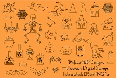 Halloween Digital Stamps Clipart