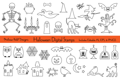 Halloween Digital Stamps Clipart