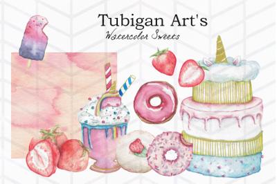 10 Watercolor Sweets Bundle