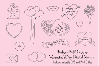 Valentines Day Digital Stamp Clipart