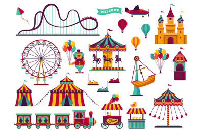 Amusement park attractions set. Carnival amuse kids carousels games fa