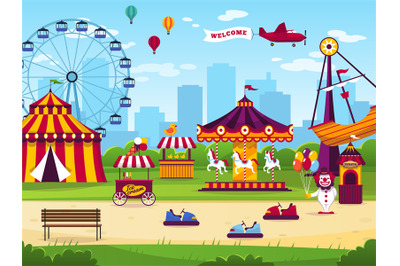 Amusement park. Attractions entertainment joyful amuse carnival fun ci