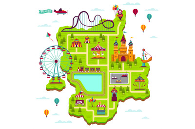 Amusement park map. Scheme elements attractions festival amuse funfair