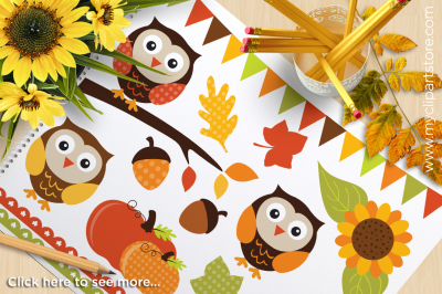 Autumn Owls / Fall / Harvest / Thanksgiving Vector Clipart