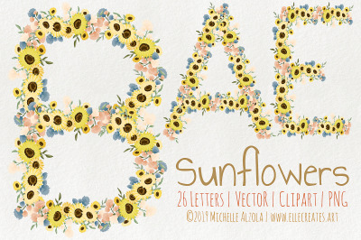 Sunflowers - LETTERS Flower Vector Graphics and Clipart