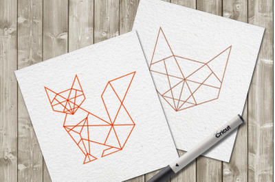 Geometric Fox Single Line Sketch for Pens | SVG | PNG | DXF
