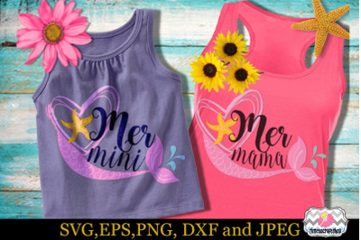 SVG, Eps, Dxf & Png for Mermini and Mermama