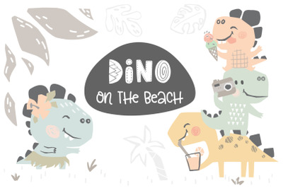 Dinosaurs on the beach. Kids vector