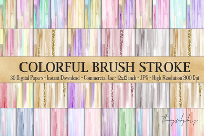 30 Watercolor Artistic Colorful Brush Stroke Digital Papers