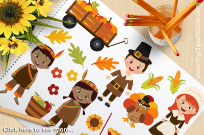 Fall / Autumn / Happy Thanksgiving Kids Vector Clipart