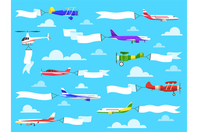Banners with planes. Flying airplanes with banner in sky, helicopter w