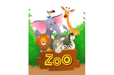 Zoo animals. African safari wildlife cute groups wild animal zoo banne