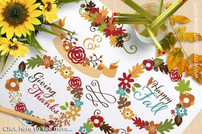 Fall Wreaths / Autumn Flowers / Thanksgiving Vector Clipart