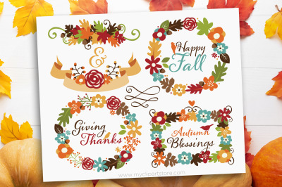 Fall Wreaths Clipart, Thanksgiving, flowers, Vector, Sublimation, SVG