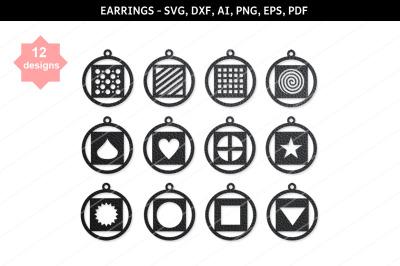 Round earrings SVG,Dangle earrings,Heart earrings,Geometric earrings