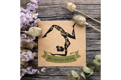 Woman Practicing Yoga/Fitness. Black Silhouette with floral motives an