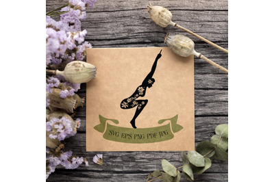 Woman Practicing Yoga/ Fitness. Black Silhouette with floral motives a