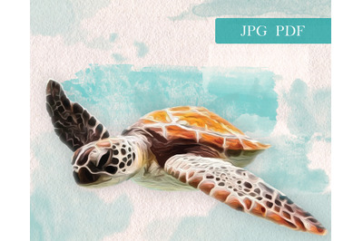 Ocean/Sea turtle in oil and watercolor paint style. Illustration of a