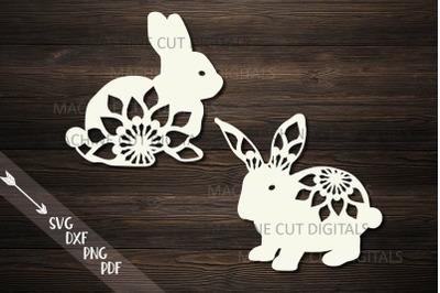 Floral Easter Bunnies set paper cut laser cut svg dxf templates