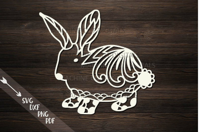 Floral Cute Easter bunny rabbit  svg dxf file for machine cut