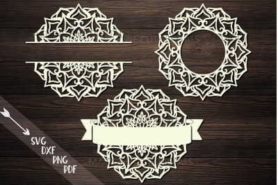 Mandala Monogram frame bundle split circle ribbon svg cut