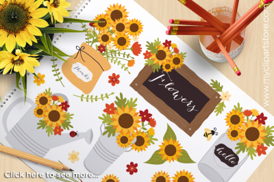 Cottage Sunflowers / Fall / Autumn / Thanksgiving Vector Clipart