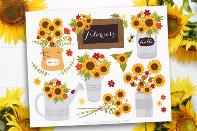 Sunflowers Clipart, Fall, Autumn, Thanksgiving, Sublimation, SVG
