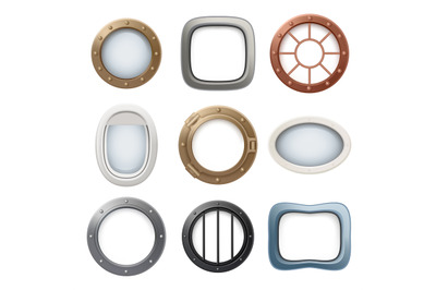 Plane window. Ship boat round glass portholes aircraft interior vector