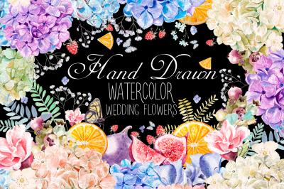 HandDrawn WATERCOLOR Wedding Flowers