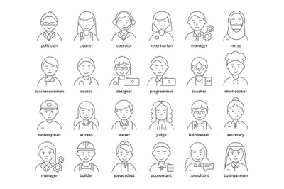 Professions avatars. Medic teacher waiter stewardess judge advocate ma