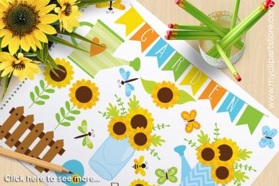 Sunflower Garden / Spring / Summer Vector Clipart
