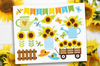 Sunflower Garden Clipart, Summer, farmhouse, Vector, Sublimation, SVG