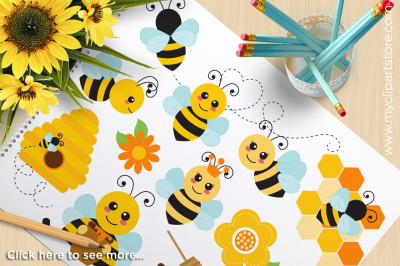 Buzzy Bees, Bumble Bee, Honey Bee Vector Clipart, SVG Cut Files