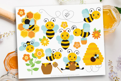 Bumble Bee Clipart, Buzzy Bees, Honey Bee, Vector, Sublimation, SVG