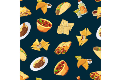 Vector cartoon mexican food pattern or background illustration