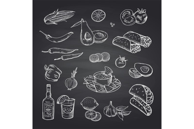 Vector sketched mexican food elements set on black chalkboard