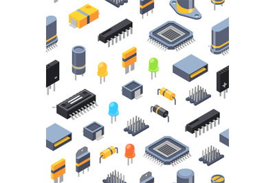 Vector isometric microchips and electronic parts icons pattern or back
