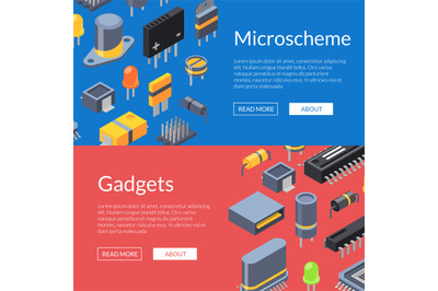 Vector isometric microchips and electronic parts icons