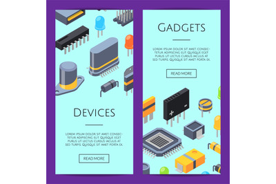 Electronics Cards. Vector microchips and electronic parts