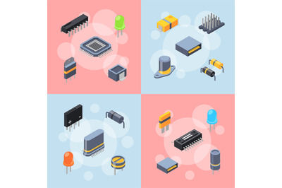 Vector isometric microchips and electronic parts icons infographic con