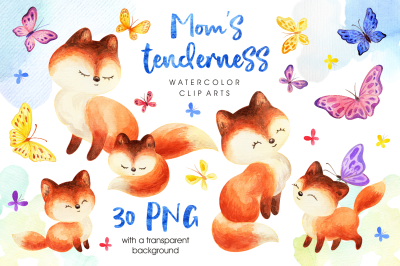 Mom's tenderness. Watercolor foxes and butterflies