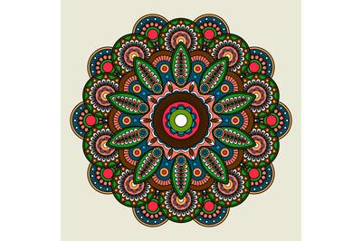 Floral bright colored mandala illustration
