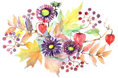 Autumn Bouquet with asters and physalis Watercolor png