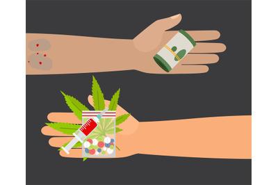 Drugs buy vector illustration