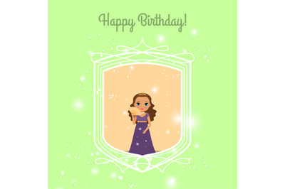 Happy Birthday card with fairy princess