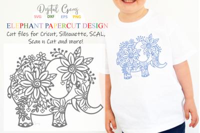 Elephant paper cut design